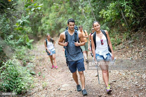 Group of backpackers hiking