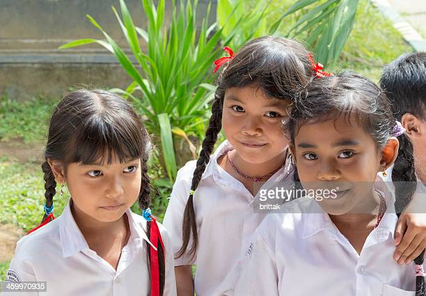 Group of Bali school girls outdoors.