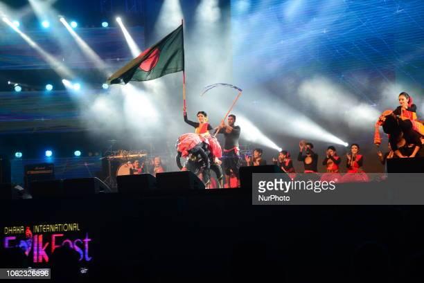 A group of Bangladeshi Artist dance praforms in the Dhaka International Folk Festival at Army Stadium in Dhaka Bangladesh on November 15 2018 The...