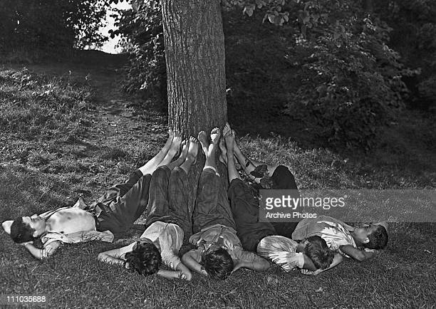 A group of barefoot boys resting with their feet up against the trunk of a tree Central Park New York City circa 1940