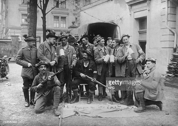 A group of Bavarian men with their rifles which are illegal under the new German Regulations on Weapons Ownership circa 1919