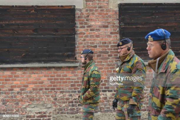 A group of Belgian soldiers near the 'Death Wall' as they joined Belgian Defense Minister Steven Vandeput and Vice Chief of Defense Michel Hofman and...