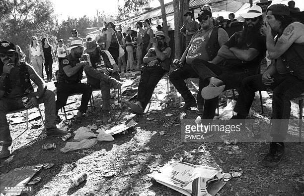 Group of bikers relaxing at Bindoon Western Australia 1990s.