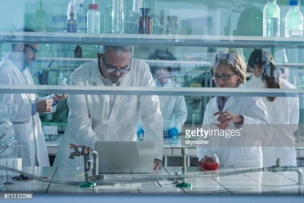 grupo de bioquímicos trabajan en nuevas investigaciones en laboratorio. - grupo mediano de personas fotografías e imágenes de stock