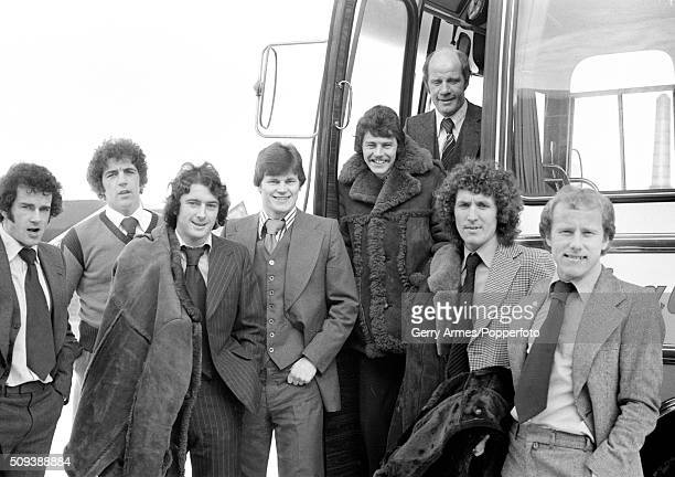 A group of Birmingham City footballers preparing to leave for an away match circa January 1979 Leftright Malcolm Page Neil Freeman Trevor Francis Joe...