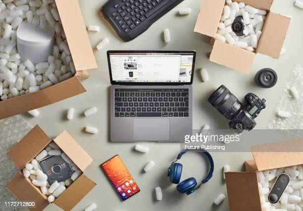 Group of Black Friday online shopping purchases photographed in delivery boxes filled with polystyrene packing pellets, taken on September 13, 2019.
