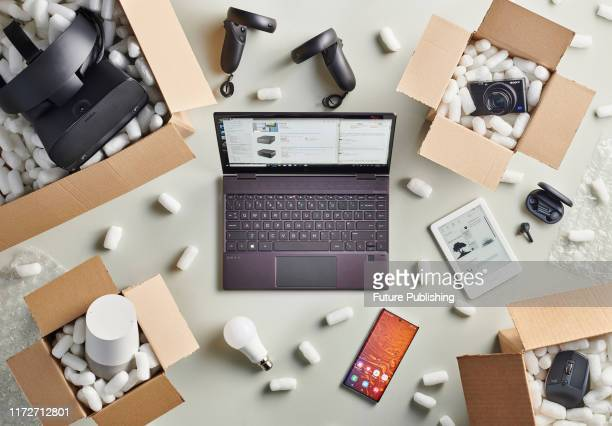 A group of Black Friday online shopping purchases photographed in delivery boxes filled with polystyrene packing pellets taken on September 13 2019