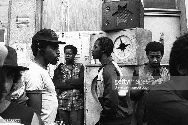 Group of black men sound system Notting Hill Carnival London UK 1983