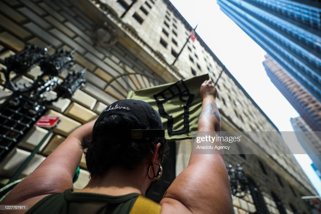 BLM demonstrators protest the Federal Reserve Bank in NYC : News Photo