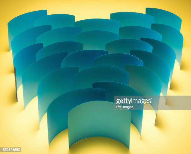 Group of blue paper sheets