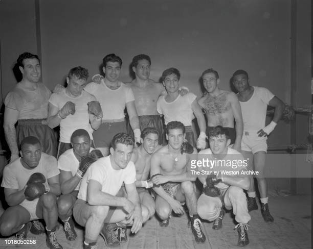 A group of boxers pose for a portrait in Stillman's Gym circa 1955 in New York City New York
