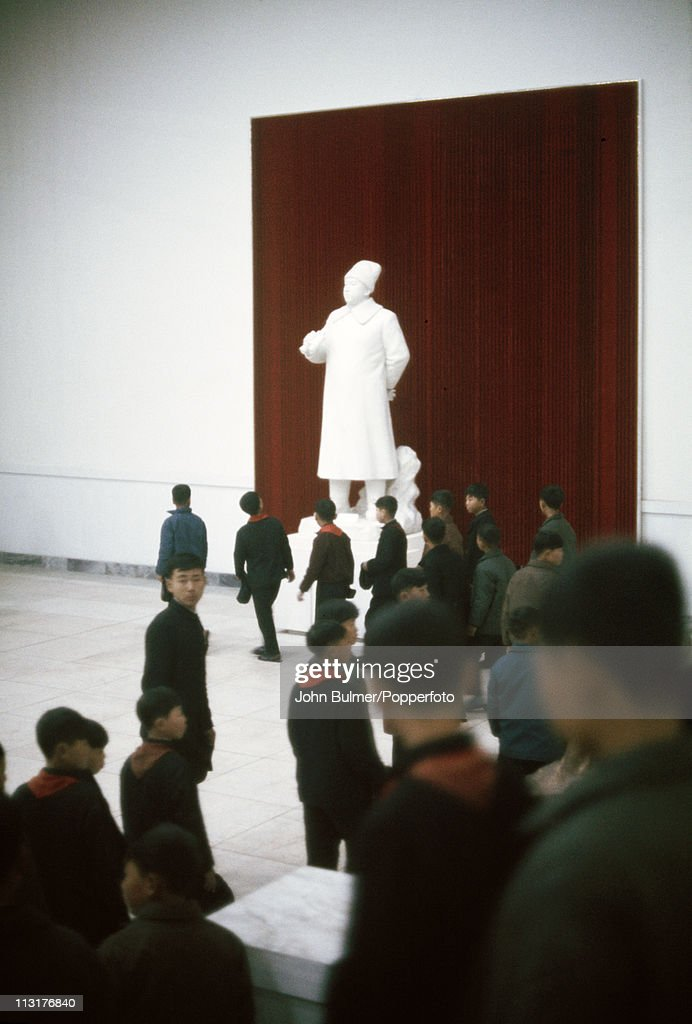 A group of boys from a youth organization visiting a museum, North Korea, February 1973.