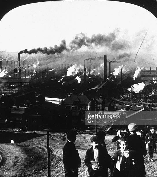 A group of boys overlooking the Homestead steel plant in Pittsburgh