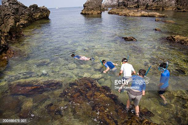 Group of boys snorkling in sea, rear view