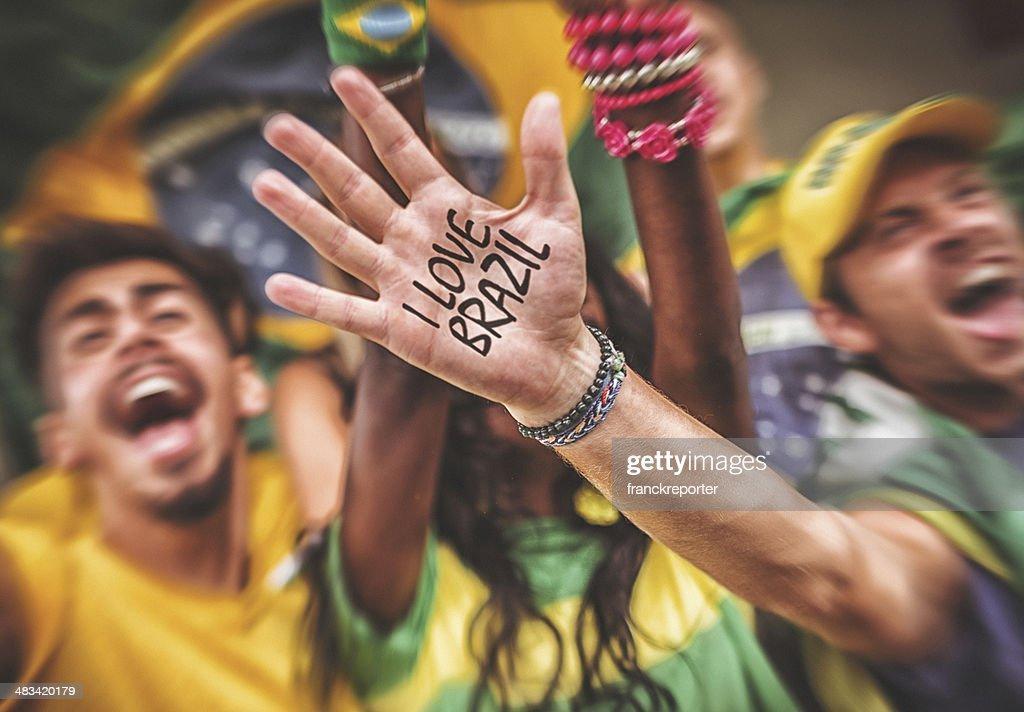 Gruppe von brasilianische Fan im Stadion : Stock-Foto
