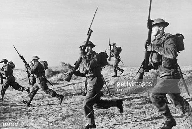 Group of British Marines on a beach, circa 1940.