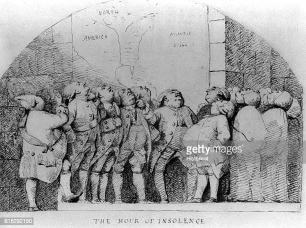 A group of British ministers stand before a map of North America with their noses in the air insolently believing they will soundly defeat the...