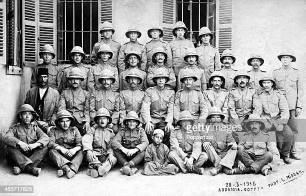 A group of British soldiers wearing pith helmets in Abbassia Egypt during World War One on 28th March 1916