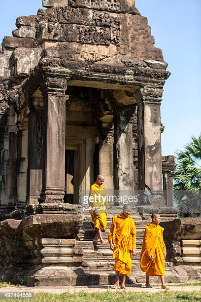 group of buddhist monks in angkor wat in cambodia - cambodia stock pictures, royalty-free photos & images