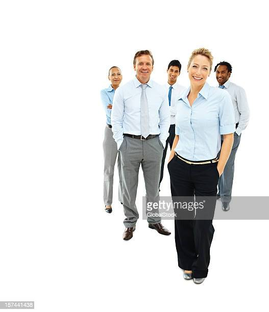 group of business colleagues isolated over white - five people stock pictures, royalty-free photos & images