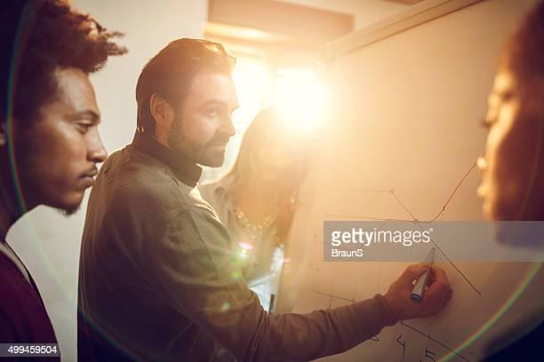 Groupe de gens d'affaires analyser un graphique au bureau.