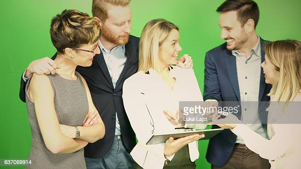 Group of business people at chroma key background