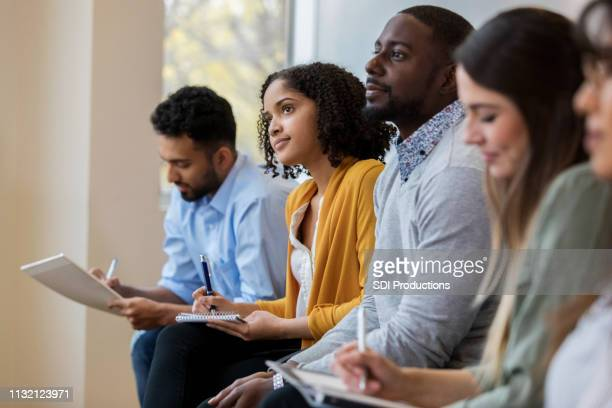group of business people concentrate during training class - workshop stock pictures, royalty-free photos & images