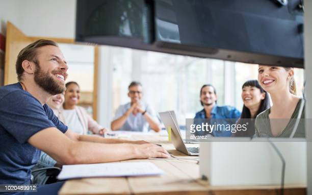 group of business people in video conference - webinar stock photos and pictures