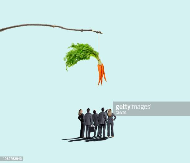 group of business people looking up at carrot dangling from a stick - incentive stock pictures, royalty-free photos & images