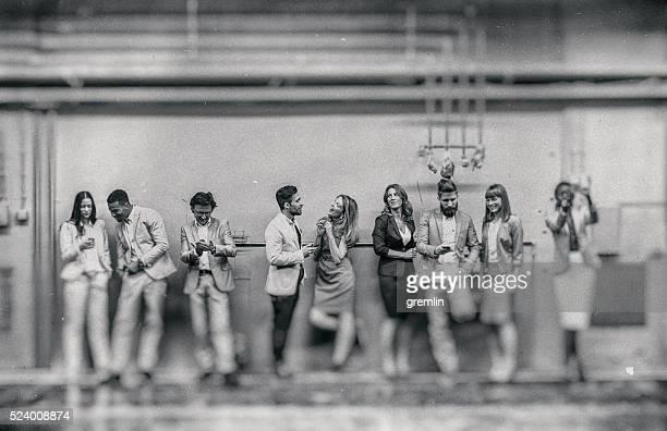 Eine Gruppe von Geschäftsleute, selfies
