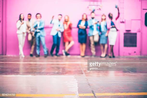Group of business people making selfies