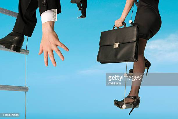 Group of business people moving upwards