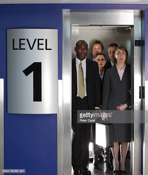 Group of business people standing in lift, portrait