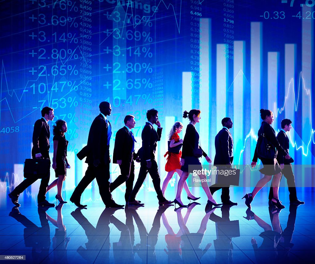 Group of Business People Stock Market Concept : Stock Photo