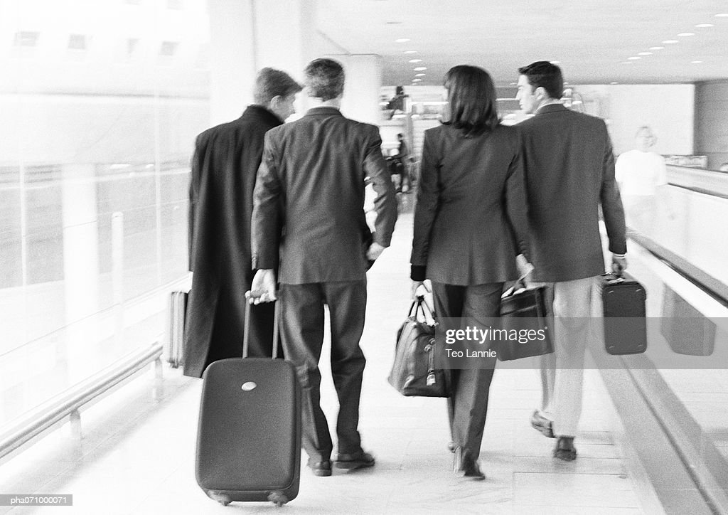 Group of business people walking through terminal, full length, rear view, b&w. : Stockfoto
