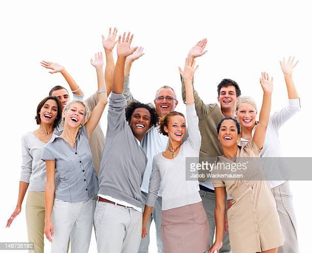 Group of business people waving their hands