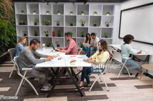 Group of business people working at a creative office