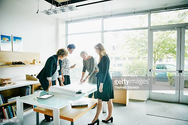 Group of businesswomen reviewing project plans