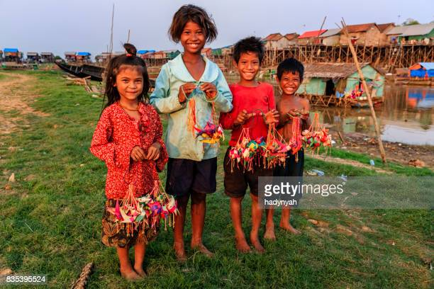 Group of Cambodian children selling souvenirs, Cambodia