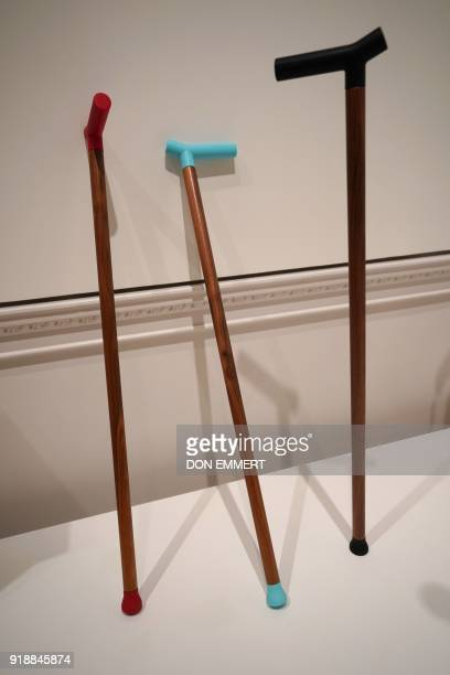 A group of canes are on display designed to not fall over when leaned against a wall as part of the AccessAbility exhibit at the Cooper Hewitt...