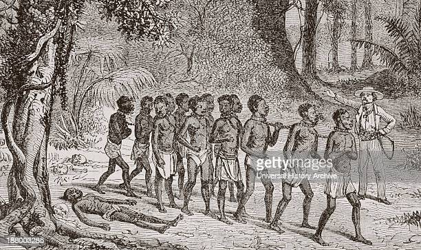 A Group Of Captured Africans Being Led Away By A White Slaver From L'univers Illustre Published In Paris In 1868