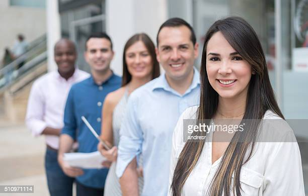 Group of casual business people outdoors