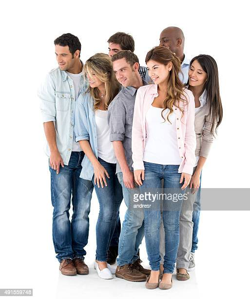 Group of casual people looking to the side