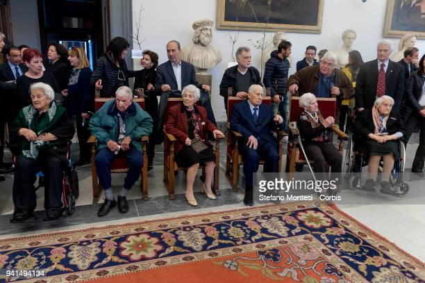 A group of centenarians before the meeting with the Mayor of Rome Virginia Raggi at the Capitoline Hill who meets the citizens of Rome who celebrated...