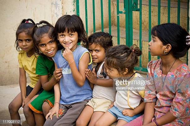 Group of Cheerful Indian Rural Girls