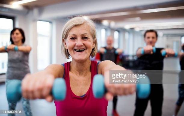 Group Of Cheerful Seniors In Gym Doing Exercise With Dumbbells