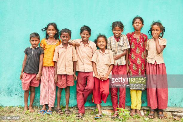 group of cheerful teen village kids standing - tamil nadu stock pictures, royalty-free photos & images