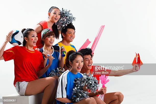 'Group of cheerleaders,close-up'