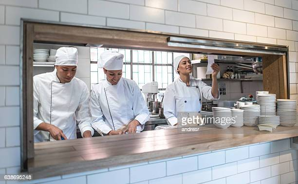 Group of chefs working at a restaurant