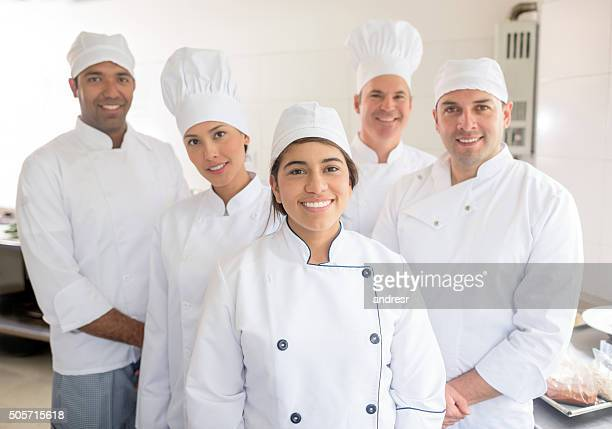 Group of chefs working together